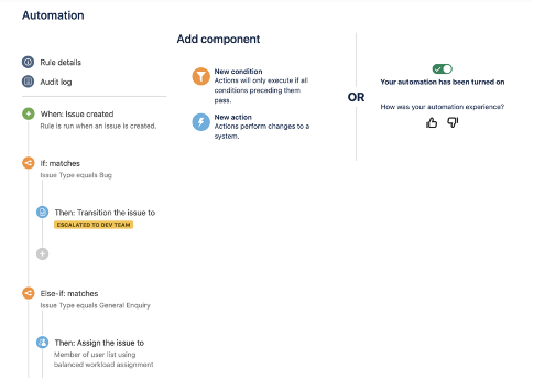 Interfaz de usuario para Jira Automation, herramienta de automatización de Jira, integrada en Jira Service Management