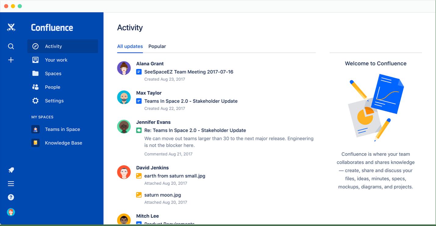 Atlassian Confluence es la herramienta digital que permite a tus usuarios acceder al conocimiento de la empresa
