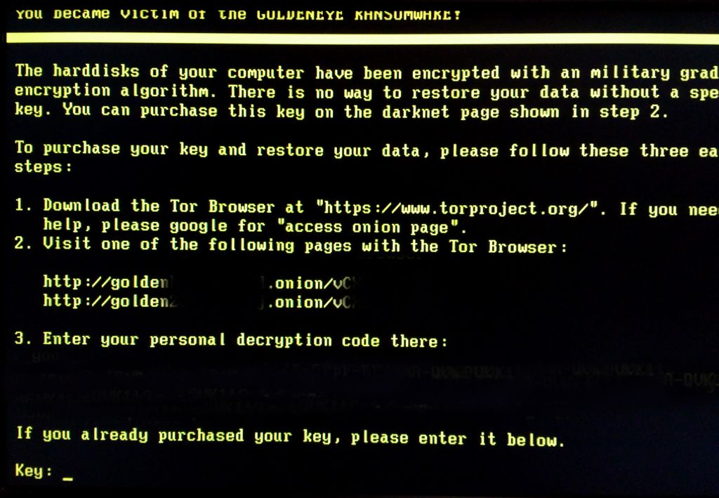 Pantalla de Ransomware